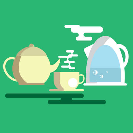 vapour: the process of tea with the image of the tea set Illustration