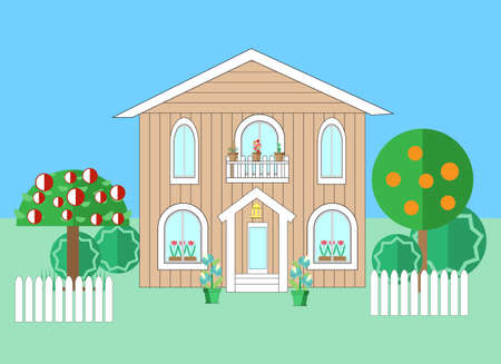 an agronomist: house ang garden. flat vector illustration Illustration