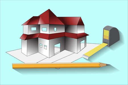 het ontwerp van een landhuis met een afbeelding van zijn lay-out