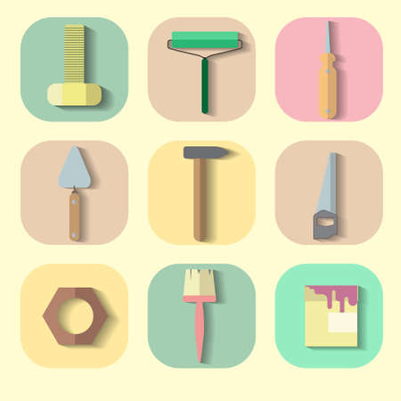 refit: nine icons on construction theme in colorful squares