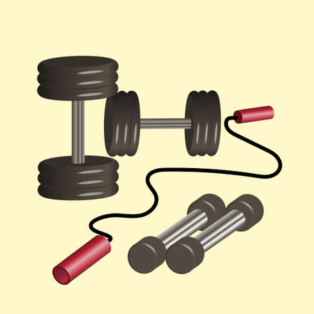the concept of a healthy lifestyle with a picture of dumbbells and jump ropes