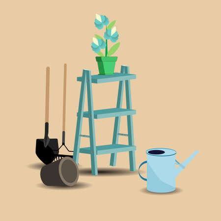 an agronomist: the image of garden tools, flower pots, ladders