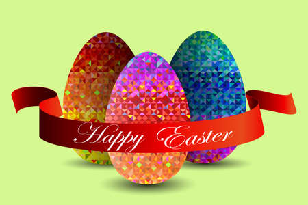 greeting card with Easter with the image of three eggs and a red ribbon