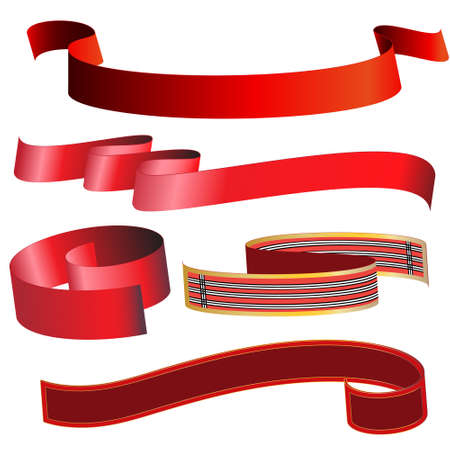 signboard form: a set of five red ribbons various forms Illustration