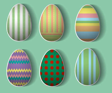 pasteboard: set of six Easter eggs with patterns on a green background Illustration