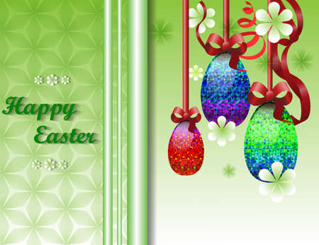 gamma tone: greeting card with Easter with image of three easter eggs on a ribbon