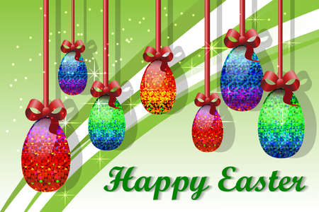 gamma tone: greeting card with Easter with image of seven easter eggs on a ribbon