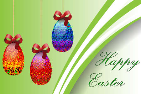 greeting card with Easter with the image of three eggs with a red bow