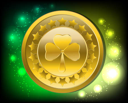 festive occasions: Patrick`s Day green backgroundgold coin with clover Illustration
