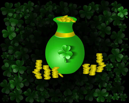 clover background: Patrick`s Day clover background green pot with gold coin