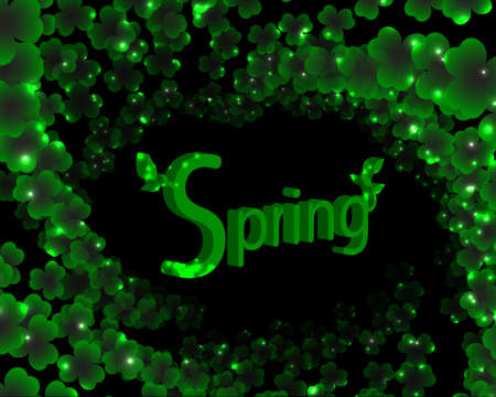 patrick backdrop: spring green background with foliage and gloss Illustration