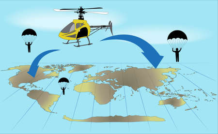 dry flies: the yellow helicopter and paratroopers under yhe world map Illustration