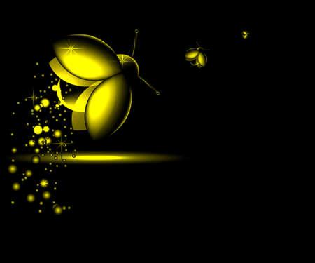 glowworm: three luminous night-flying beetle on a dark background