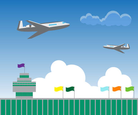 air liner: illustration of two aircraft flying over the airport building