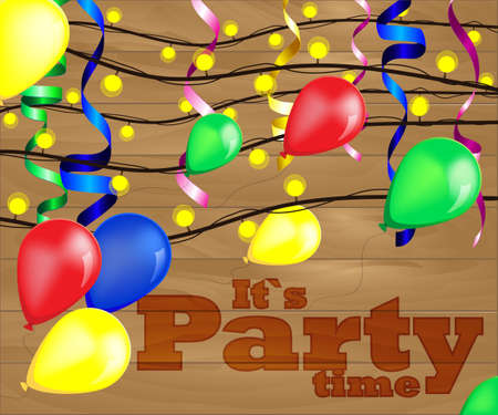 context: vector illustration for party with balloons, lamps and ribbons on blur purple background