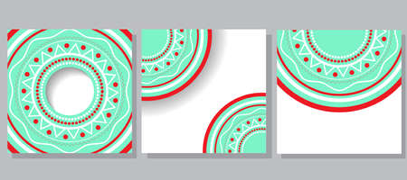 abundance: three examples of postcards with cyclical ornament white, green and red colors