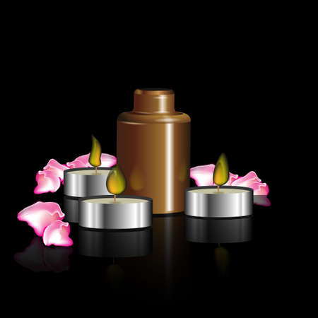 masseuse: the concept of beauty and body care with image cosmetic oil, candles, rose petals