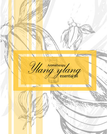 label for essential oil of ylang ylang with hand drawn flowers