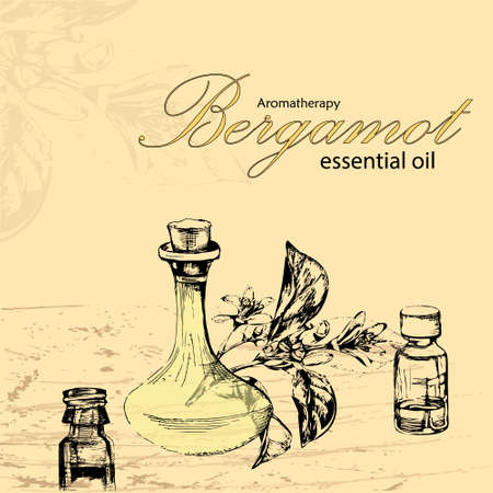 masseuse: vector illustration of essential oil of bergamot with image three bottle Illustration
