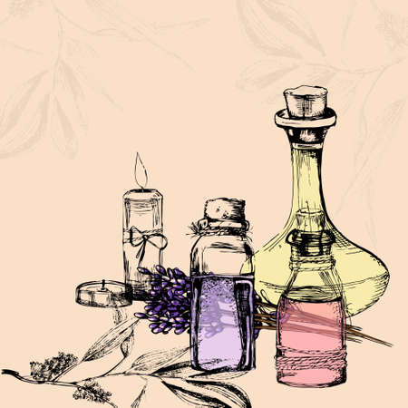 Vektor-Illustration von drei Flaschen mit ätherischen Ölen, zwei Kerzen, Lavendel Pflanze und Teebaum