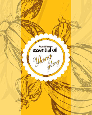 masseuse: label for essential oil of ylang ylang with hand drawn flowers