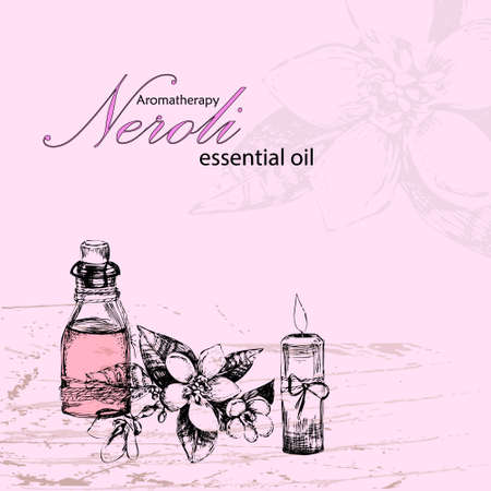 masseuse: vector illustration of essential oil of neroli, flower neroli and candle