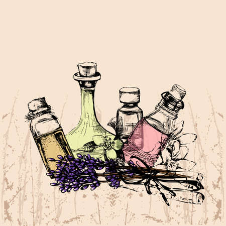 aromatherapy oil: the concept of aromatherapy and massage with four bottles of essential oil, lavender, neroli, vanilla, cinnamon Illustration