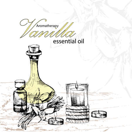 phial: vector illustration of essential oil of vanilla with flowers vanilla and candles in the style of hand drawn Illustration