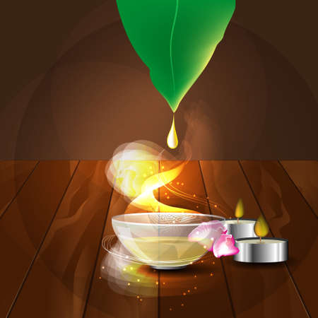 the concept of aromatherapy and massage with image of  plate with massage oil, candles and rose petals Illustration