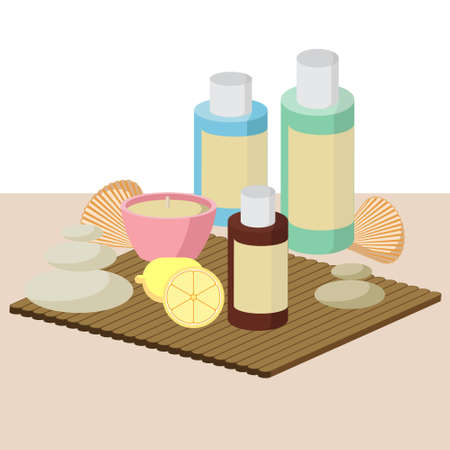 procedure: the concept of Spa procedure with stone, candles, seashells, lemon Illustration