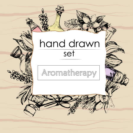 aromatherapy oil: the concept of aromatherapy and massage with bottles of essential oil, flowers, in the style of hand drawn on wooden background Illustration