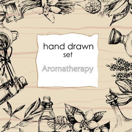 el concepto de aromaterapia y masaje con botellas de aceite esencial, flores, en el estilo de dibujado a mano sobre fondo de madera Ilustración de vector