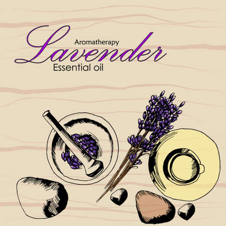 the concept of Spa procedure with stone, mortar bowl, essential oil, lavender Vetores
