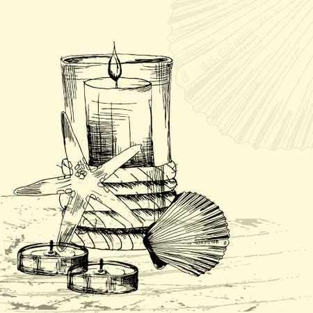 masajes relajacion: el concepto de Procedimiento del balneario con las velas y conchas marinas en el estilo de dibujado a mano