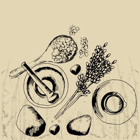 il concetto di procedura di Spa con la pietra, olio essenziale di lavanda, ciotola di mortaio, e cucchiaio di macchia Vettoriali