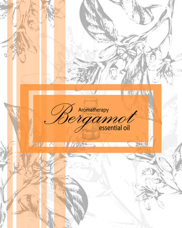 essential oil: label for essential oil of orange with  flowers