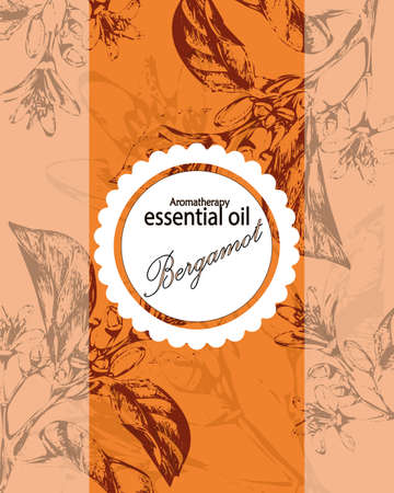 label for essential oil of orange with flowers