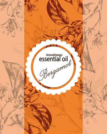 label voor etherische olie van oranje met bloemen