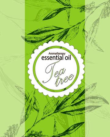 label voor etherische olie van tea tree met bladeren Vector Illustratie