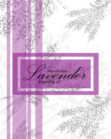 lavender oil: label for essential oil of lavender with  flowers Illustration