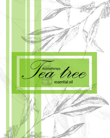 aromatherapy oil: label for essential oil of tea tree with leaves