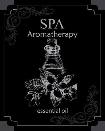 bitter orange: the concept of Spa procedure with element of vintage on the black backgroundessenteai oil of bitter orange