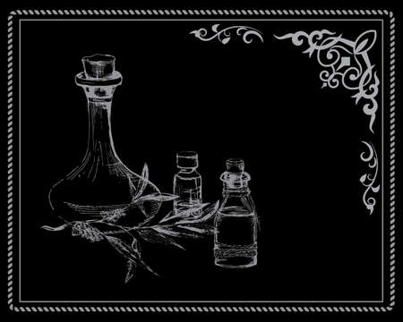 phial: the concept of Spa procedure with element of vintage on the black background