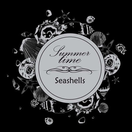 beach wrap: illustration of seashells in the style of hand drawn on the black background