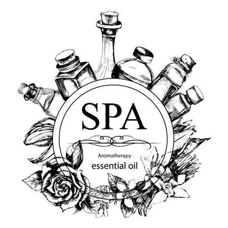 le concept de procédure Spa avec des fleurs, des bouteilles et des éléments de cru sur le fond blanc