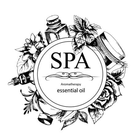 rosemary: the concept of Spa procedure with flowers, bottles and element of vintage on the white  background Illustration