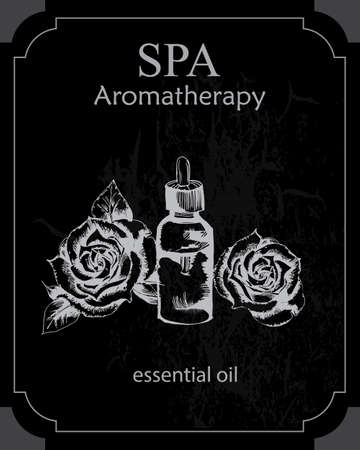 essential: the concept of Spa procedure with essential oil of rose on the black background Illustration