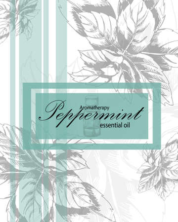 essential oil: label for essential oil of peppermint with hand drawn leaves