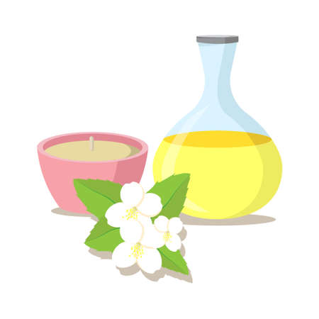 scented candle: vector illustration of essential oil of jasmine with candle