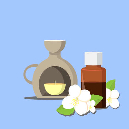 aroma: vector illustration of essential oil of jasmine with aroma lamp